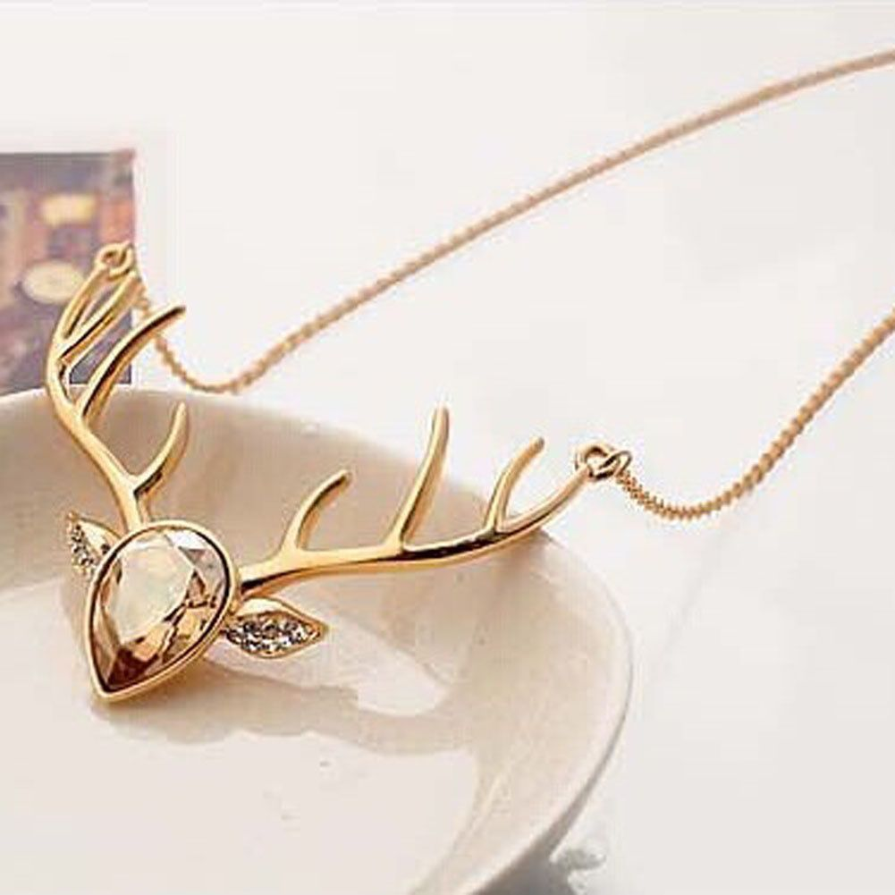 Women's Fashion Jewelry Crystal Pere David's Deer Pendant Cute Animal Necklace,Charm Ladies Accessories From Milkle Gift