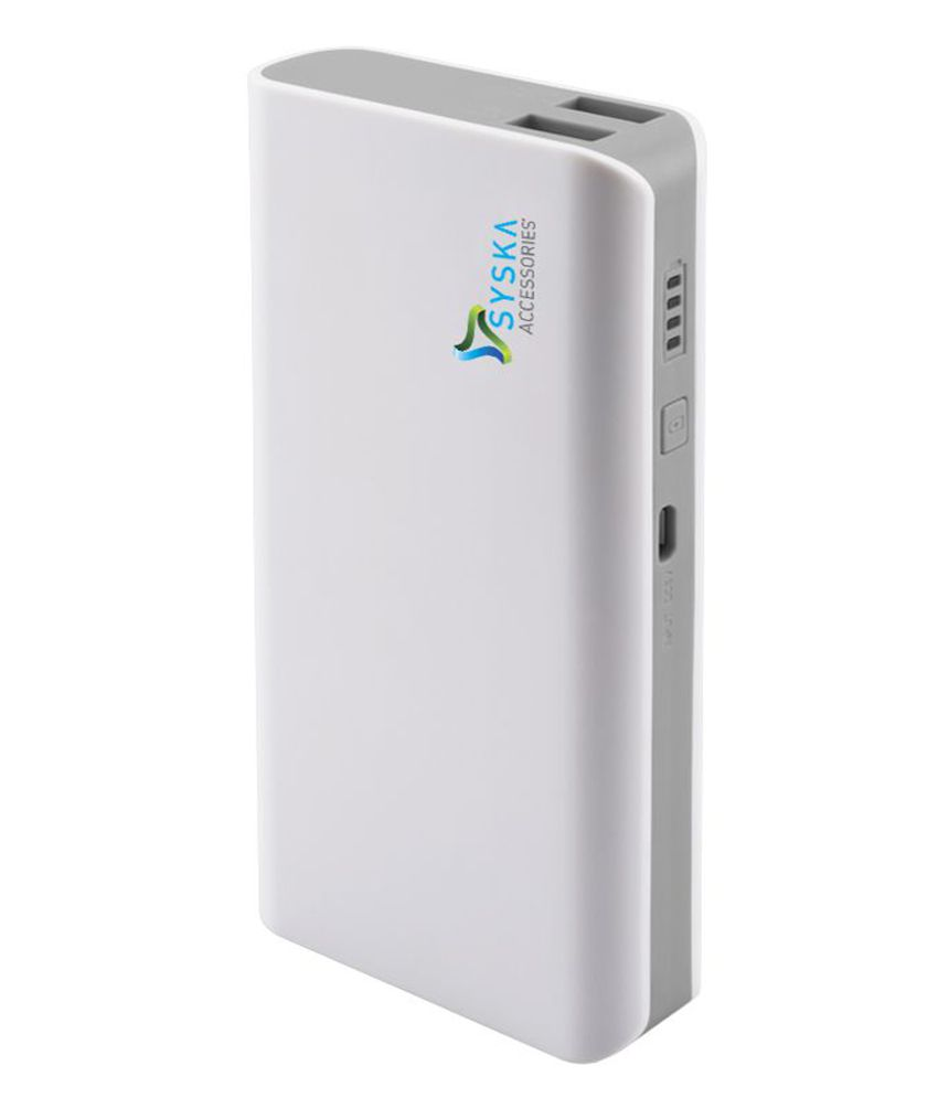 Syska X110 11000 mAh Li-Ion Power Bank - White&Grey