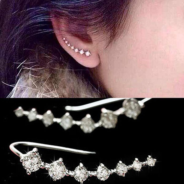 2015 Top Quality New Four-Prong Setting 7pcs CZ Diamonds 18K Gold Plated Ear Hook Stud Earrings Jewelry Trendy Jewelry Women Accessories
