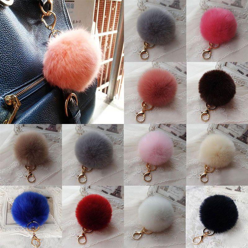 Chic Fluffy 10cm Ball Faux Rabbit Fur Car Keychain Pendant Handbag Charm Keyring Pom
