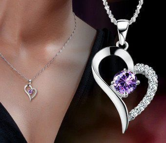 Fashion 925 Sterling Silver Amethyst Diamond Heart Necklace Pendant Gift