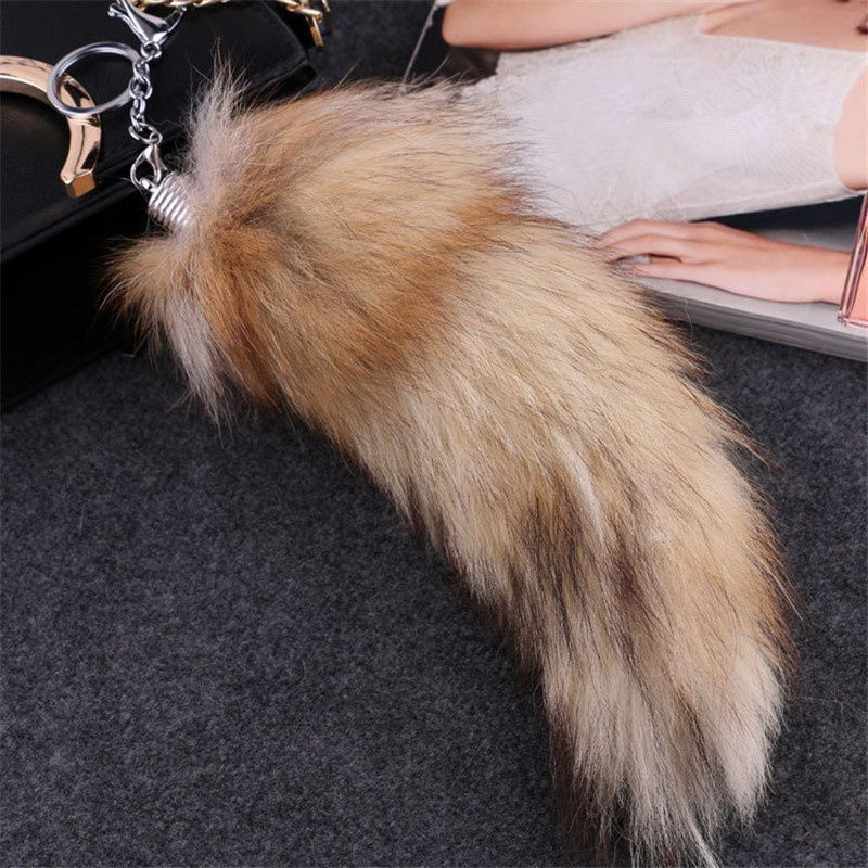 Fox Tail Keychain Wolf Tail Fur Tassel Bag Keychain Strap Chain Pendant Accessories