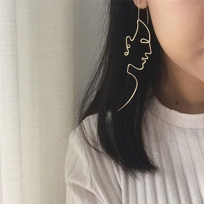 Gold Filled Face Drop Dangle Wire Ear Stud Earrings Girls Outline Long Earrings Lucky town