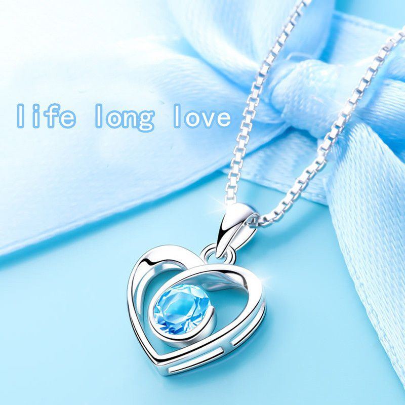 Include Chain 1*pendant Fashion Simple Blue Crystal Zircon Retro Necklace Female Heart-shaped Pendant Ladies Birthday Gift Christmas Gift Valentine Gift Ladies Jewelry