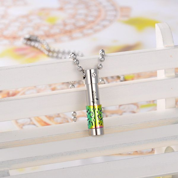 1PC Silver Stainless Steel Hollow Out Cremation Pendant Memorial Necklace Urn
