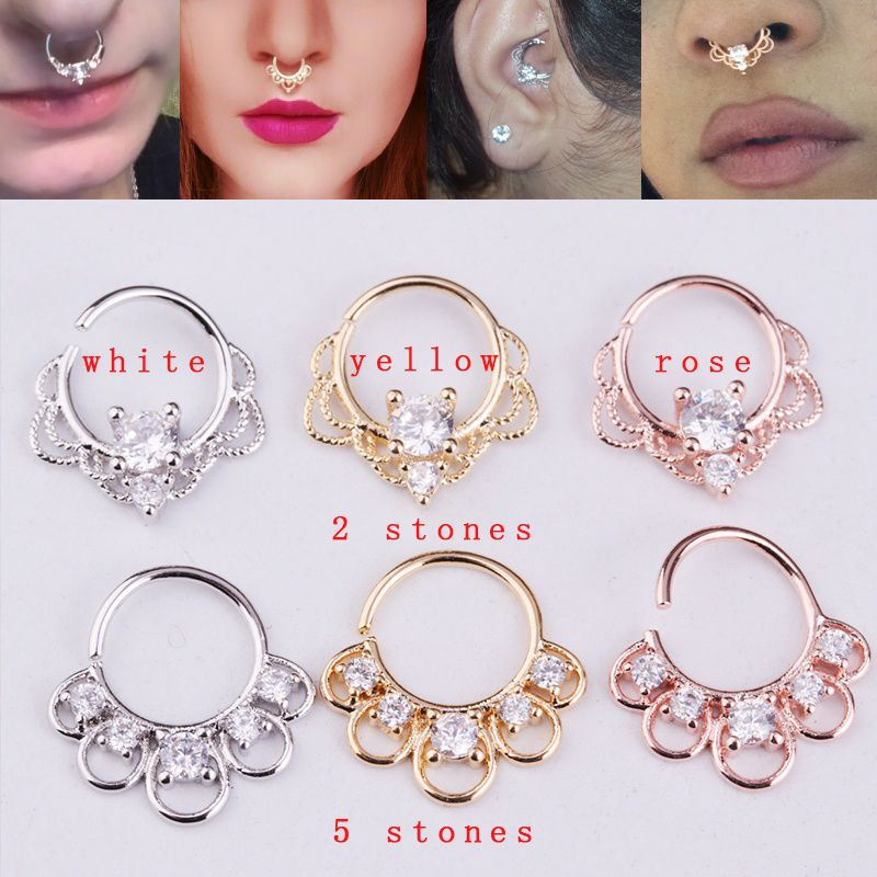 1piece Luxury Cubic Zirconia Nose Ring Silver Rose Gold Ear