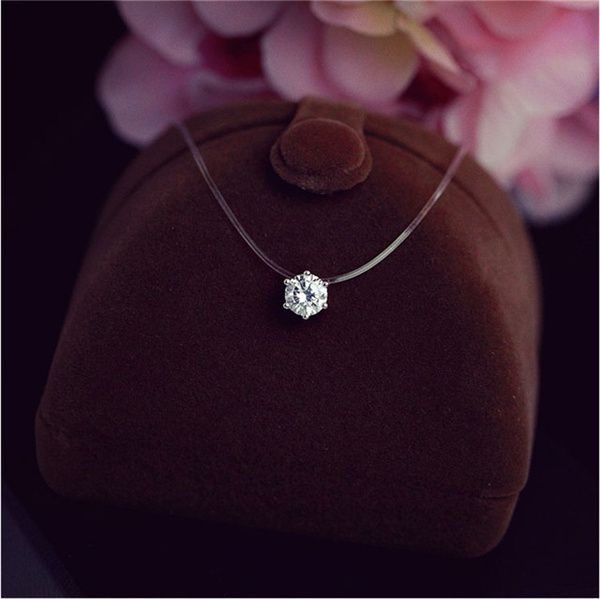 925 Sterling Silver Accessories Fashion Simple Crystal Necklace Invisible Line Zircon Clavicle Chain Temperament Women's
