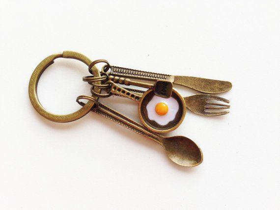 CHEF Keychain Cook Keychain Chef Gift Cook Gift Spoon Keychain Knife Keychain Fork Keychain Fried Egg Keychain Cutlery Keychain Kitchen Gift