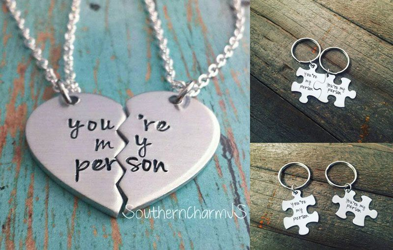 You're My Person,Pendant Necklace,Keyring, Keychain, Grey's Anatomy,You Are My Person,Friendship jewelry gift (2pcs)