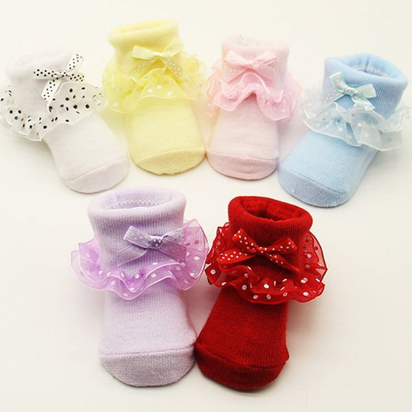 0-6 Month Toddlers Infants Cotton Ankle Socks Baby Girls Princess Bowknot Socks