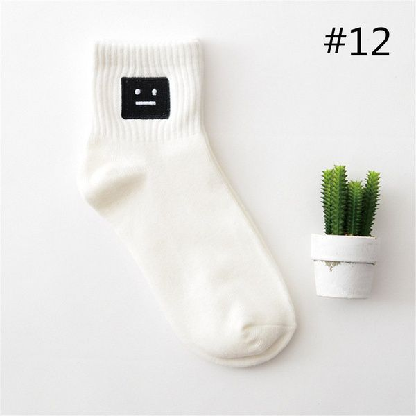 35-40 Unisex Ulzzang Japanese Black Harajuku Embroidery Pattern Cartoon Fun Socks Threaded Creative Couple Socks