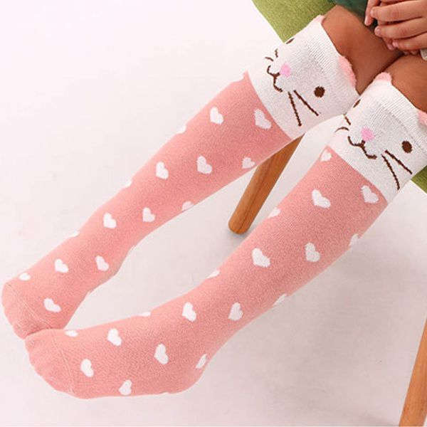 Children Sweet Stockings Cotton Cartoon Knee Length Socks