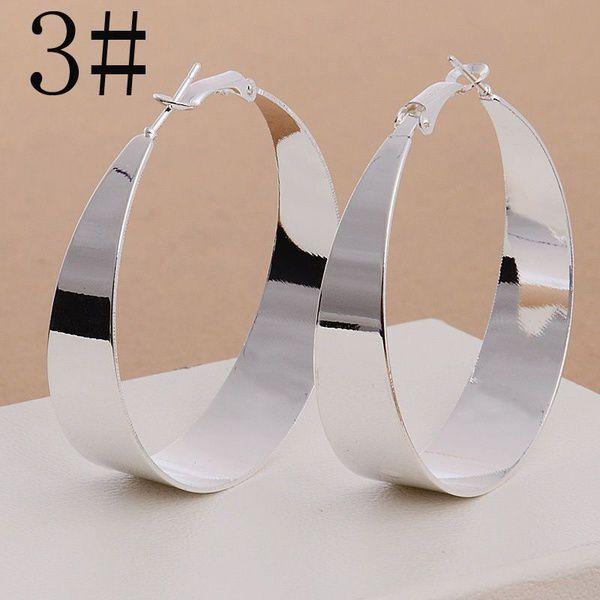 925 Sterling Silver Textured Ear Studs Large Round Hoop Earrings Women's Jewelry