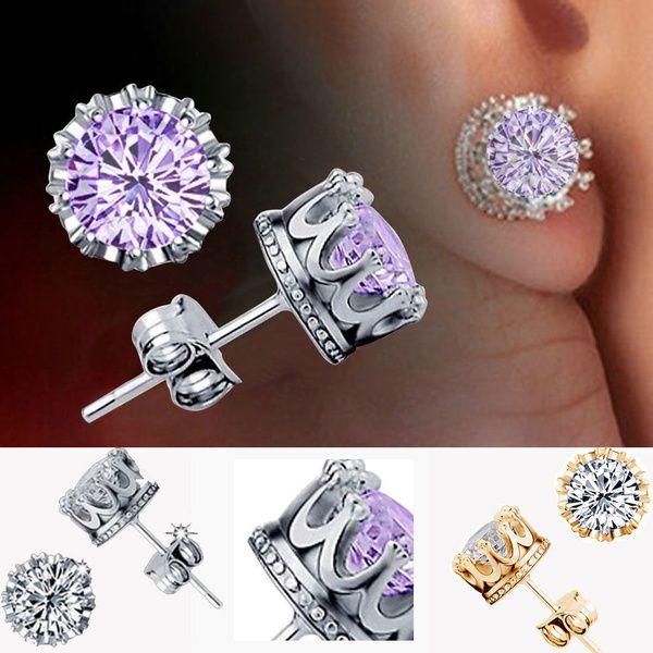 Charm Women Elegant 925 Sterling Silver Rhinestone Crown Ear Stud Earrings