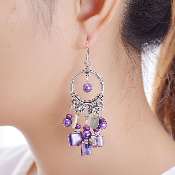 Elegant Bohemian Style Beaded Hoop Tassel Dangle Earrings 4 Colors