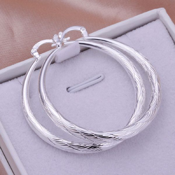 Elegant Fashion Jewelry 925 Silver Plated Stud Dangle Earings Eardrop Small Circle Rhombus Edge