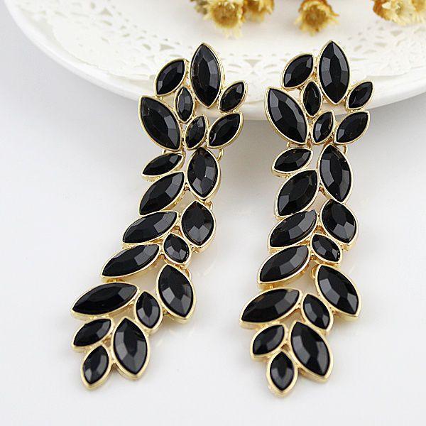 Leaf Earrings Fashion Elegant Hot Sale Black Rhinestone Brincos Grandes Gold Color Alloy Drop Earring for Women