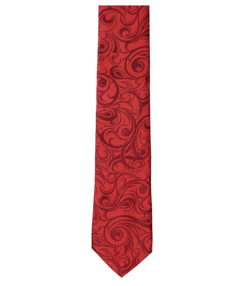 Zido Maroon Abstract Satin Necktie