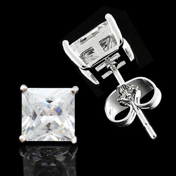 18K white Gold GP Men Princess 4-10MM Square Clear CZ stone Stud Earring
