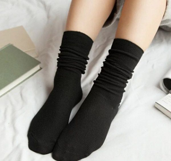 Fashion solid color retro Sen boots boots stock long cotton thin female socks