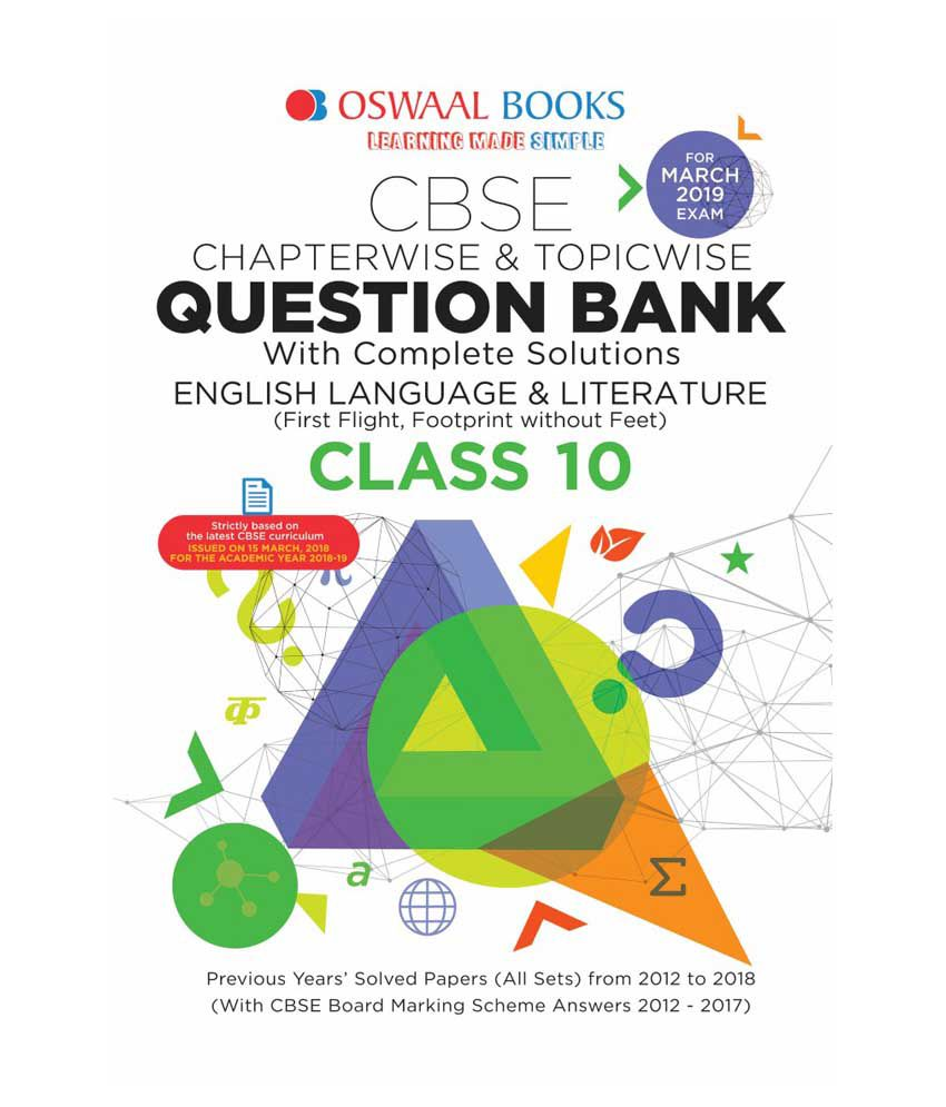 Oswaal CBSE Question Bank Class 10 English Language and Literature (For  March 2019 Exam) Chapterwise & Topicwise