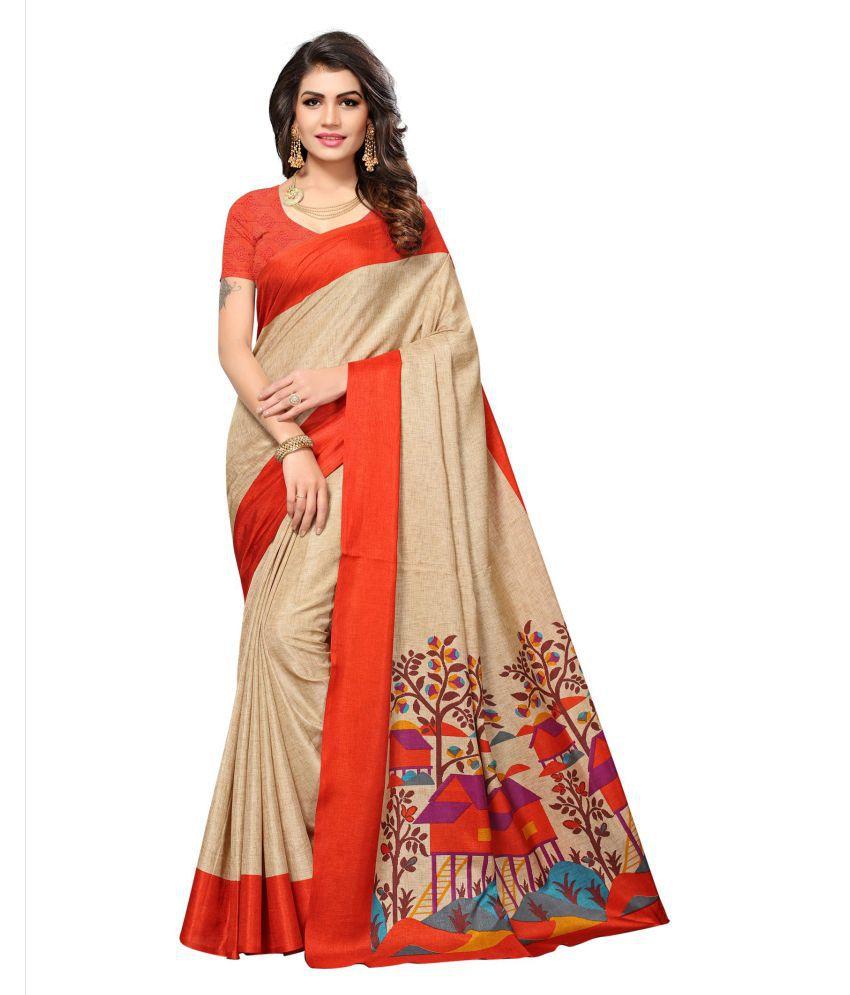 Blissta Red and Beige Art Silk Saree