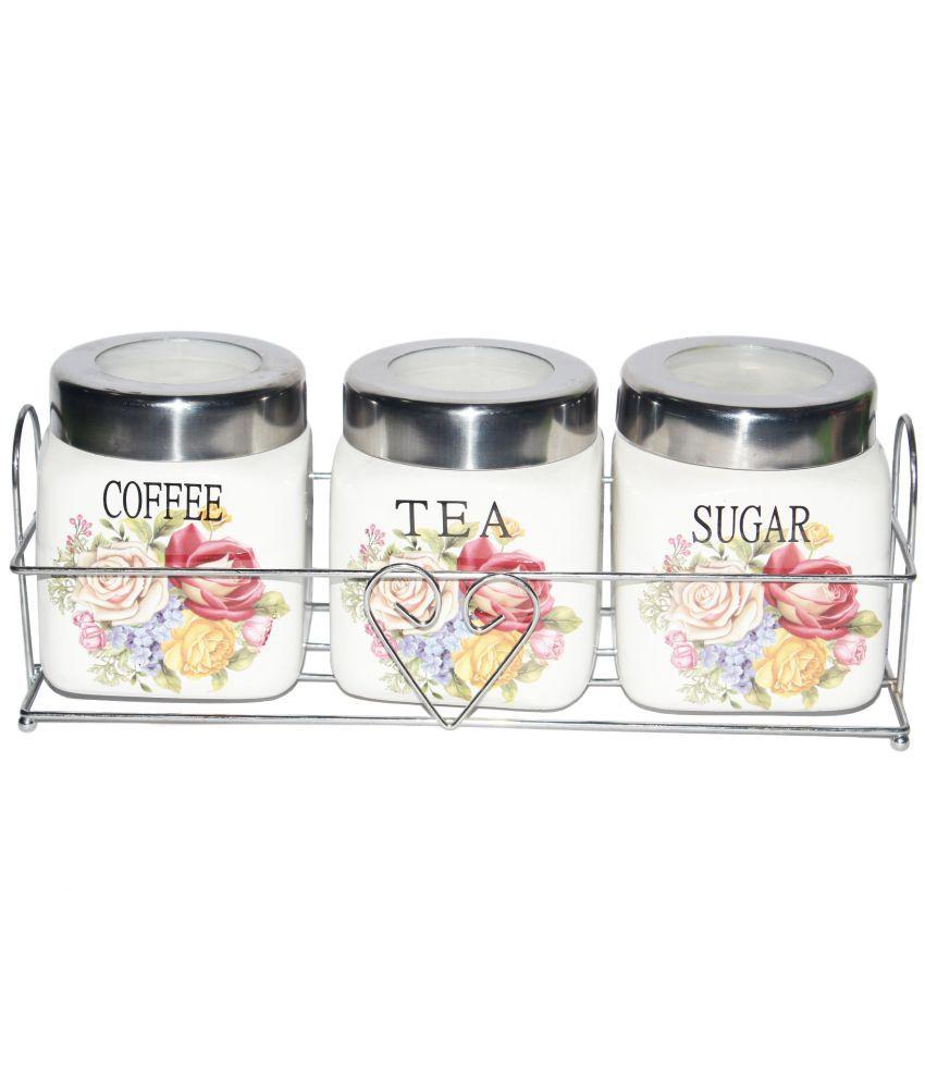 Jade S Coffee Tea Sugar Jars Set Of 3 Ceramic Tea Coffee