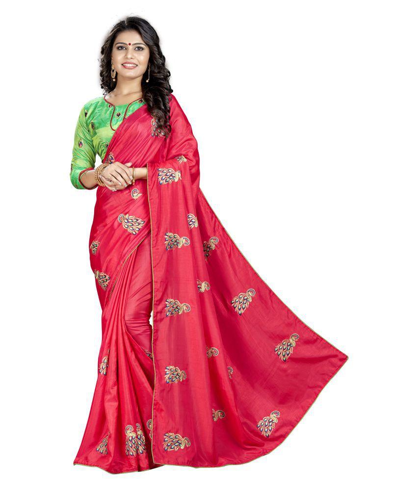 Blissta Red and Pink Silk Saree