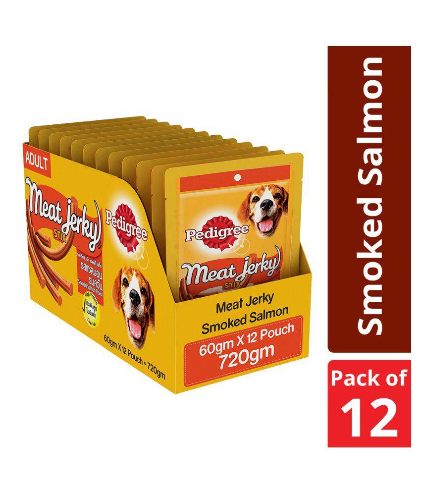Pedigree Meat Jerky Stix, Smoked Salmon flavoured Adult Dog Treats, 60 g (Pack of 12)
