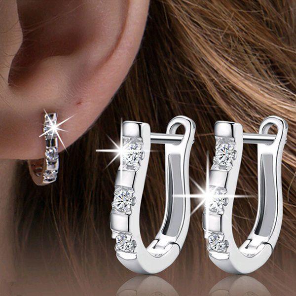1Pair Silver Nice Zircon Women's Hoop Earrings