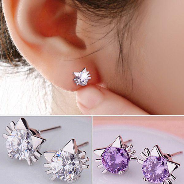 Cute Shining Ladies Cat spirit Style 925 Sterling Silver Rhinestone Earring Ear studs 2016