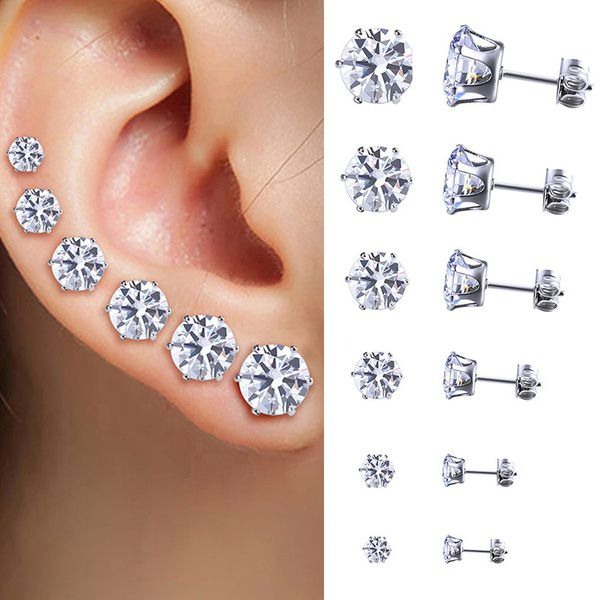 Fashion Women Crystal Ear Studs Earrings Round Cubic Zircon 6Pairs/Set