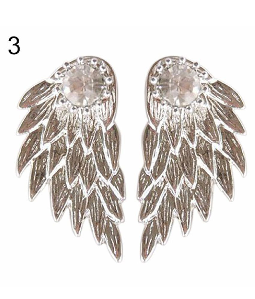 Gothic Women's Cool Jewelry Angel Wings Rhinestone Alloy Drop Stud Earrings