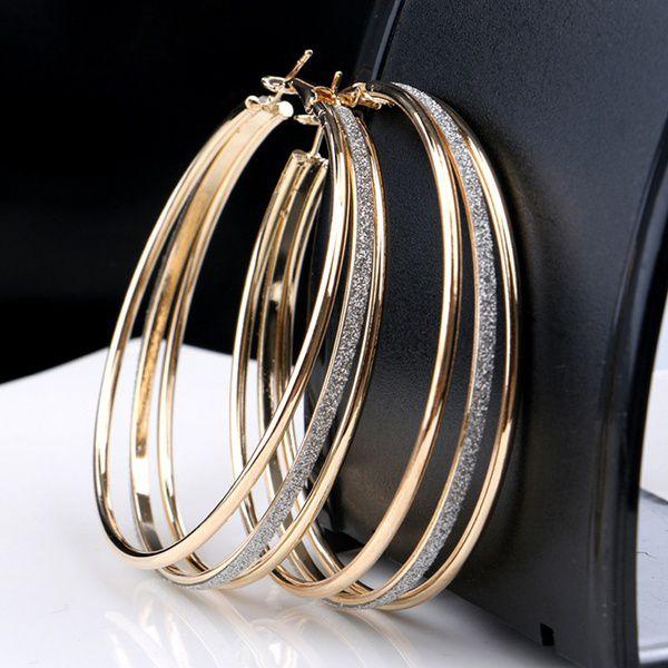 Lovely Plated Crystal Rhinestone Three Circles Hoop Dangle Earrings Fancy
