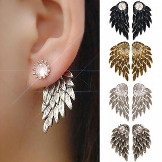 Women's Angel Wings Rhinestone Alloy Drop Stud Earrings Trendy Jewelry