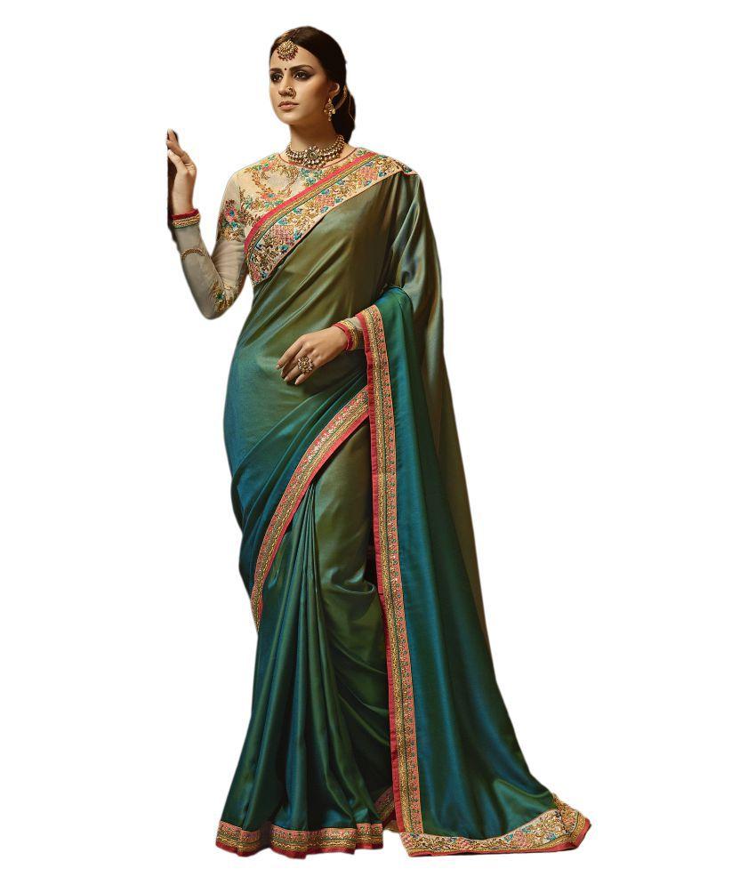NEERJA TRENDZ Green Paper Silk Saree