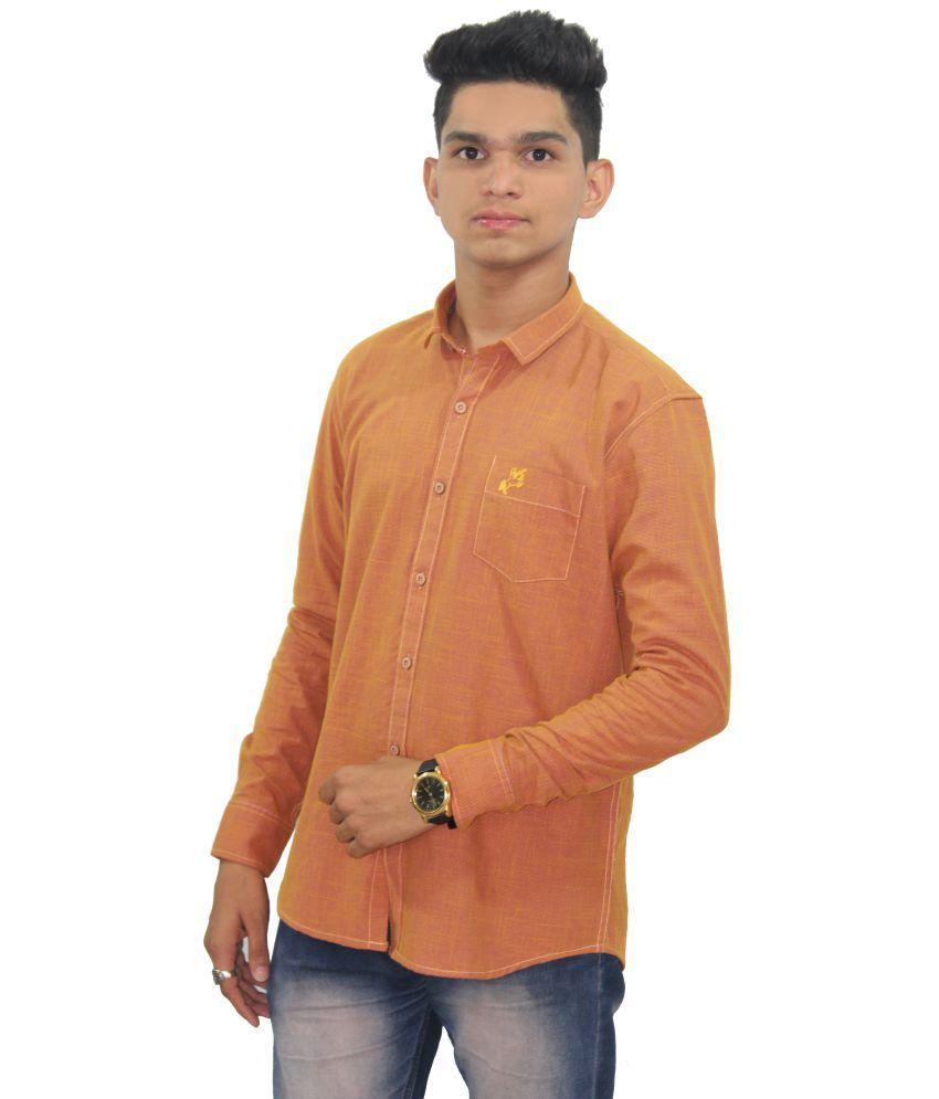 VANGUARD Orange Regular Fit Shirt