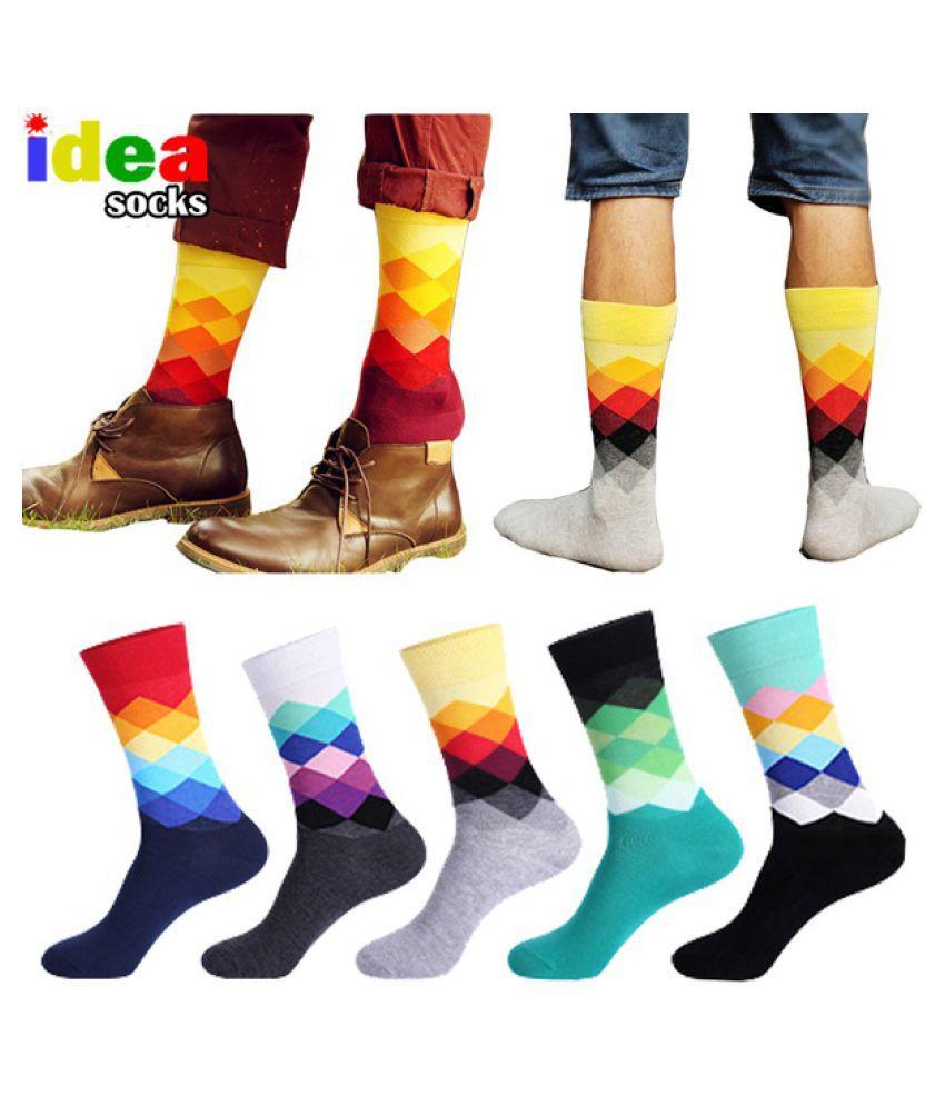 Anglai_sh-Casual Mens Cotton Colorful Happy Socks Harajuku Business Dress Socks Diamond Plaid Long Socks Calcetines