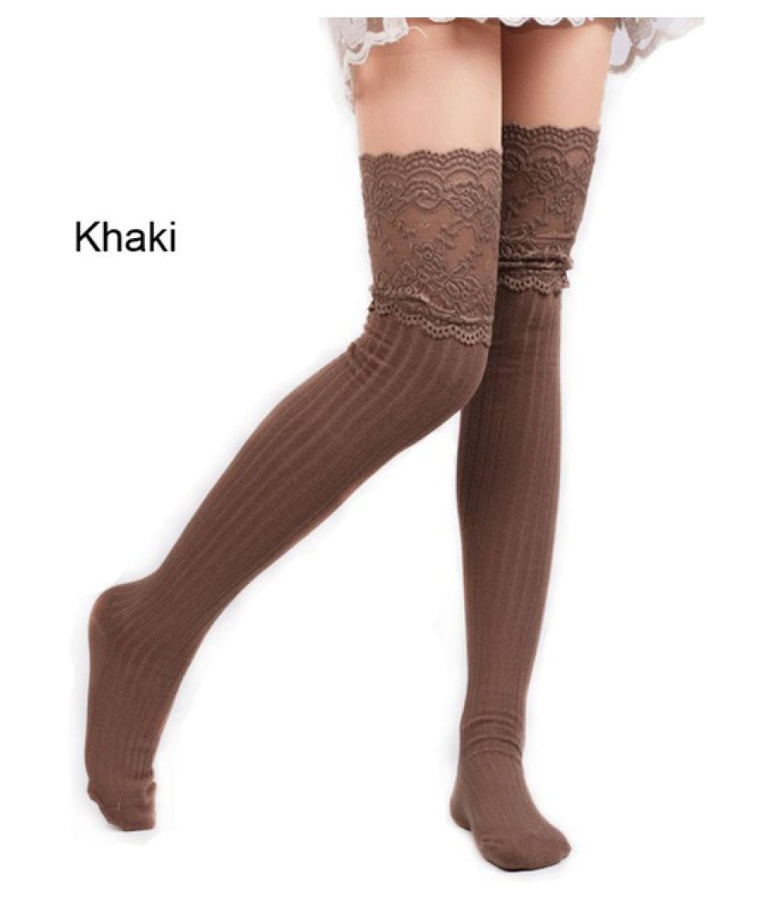 453e226af ... Lace Trim Boot Cuffs Toppers Nightclubs Pantyhose Crochet Knitted  Stocking Striped Stocking Spring Autumn Winter Warm