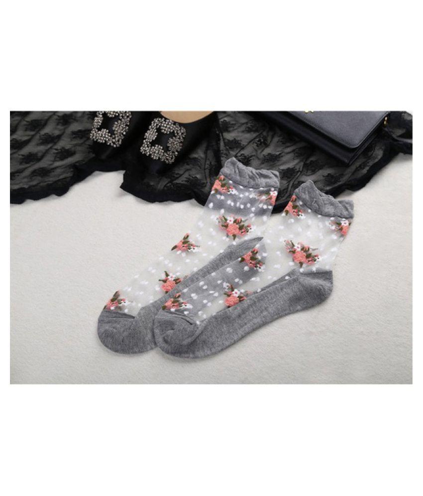 Woman S Ultrathin Socks Transparent Crystal Rose Flower Elastic Short Socks Chasetrend