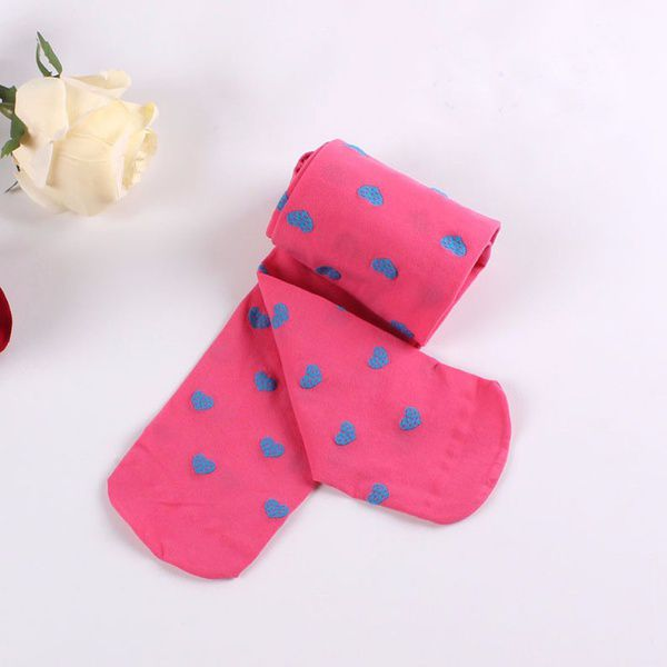 New Colorful Heart Printed Girls Pantyhose Tights Opaque Velvet Stockings Candy Color Baby Socks