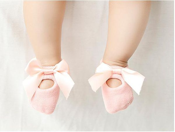 The New Baby girl cotton lace bow tie slippery socks floor socks