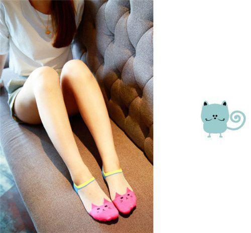 Women Fashion Transparent Ship Socks Lovely Cat Shallow Top Summer Socks Girls