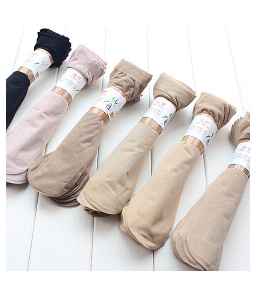 Amazing 10 Pairs Womens Short Sock Thin Transparent Crystal Silk Socks Women Lady Girl Summer Black Khaki Pure Color