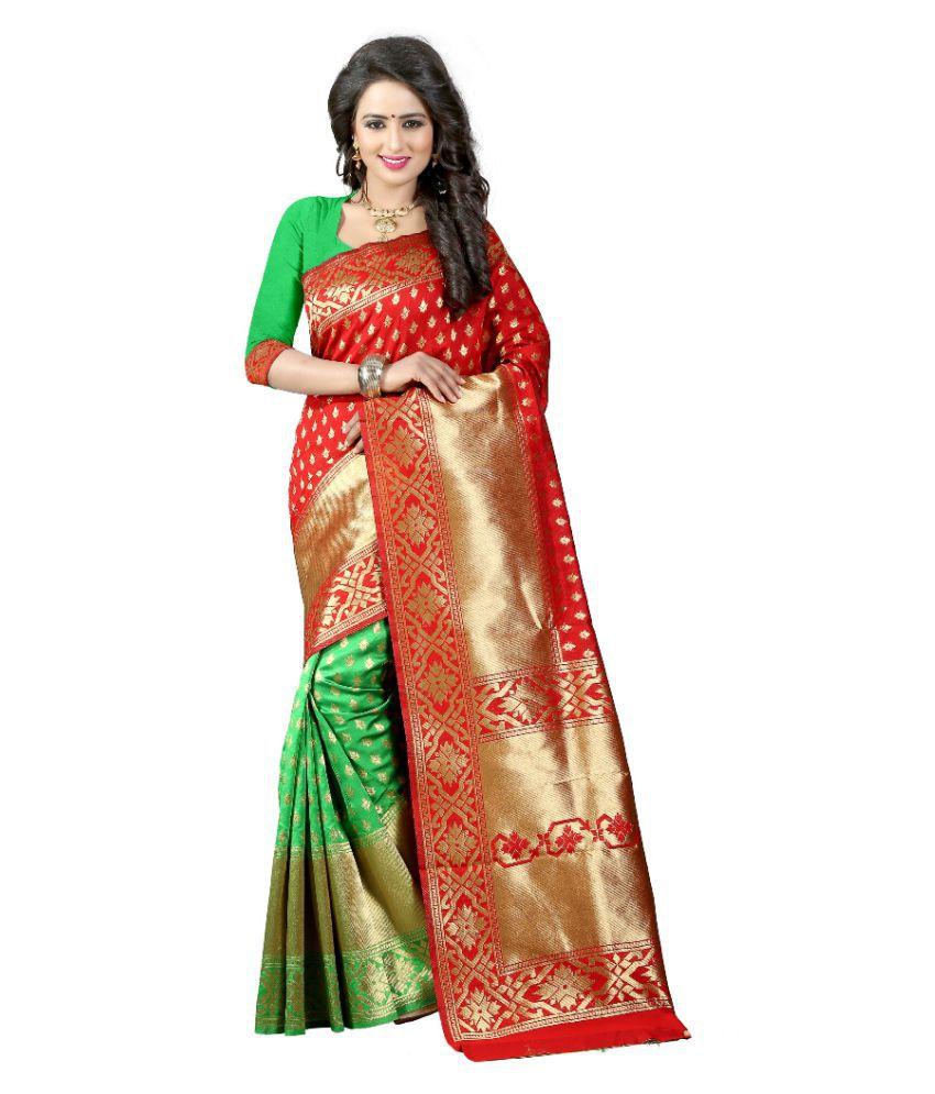 Greenvilla Designs Red Banarasi Silk Saree