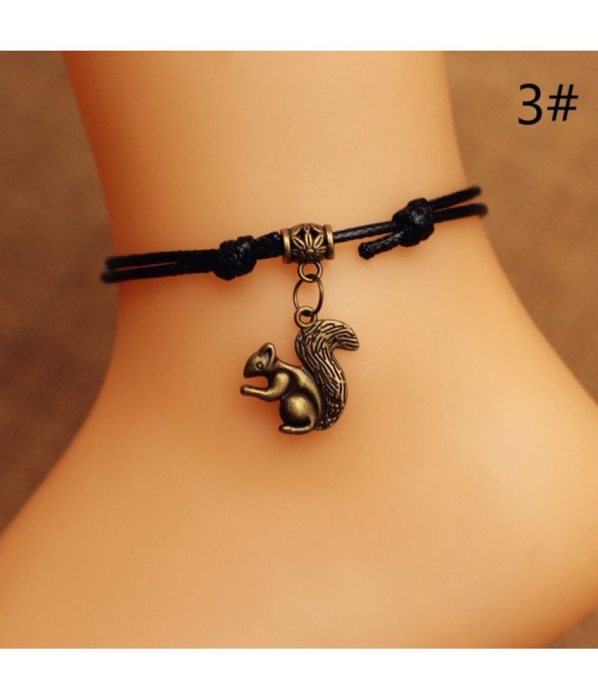 New Fashion Creative Handmade Black Rope Heart-Shaped Small Animal Bronze Pendant Anklet Jewelry Gifts 14 Optional