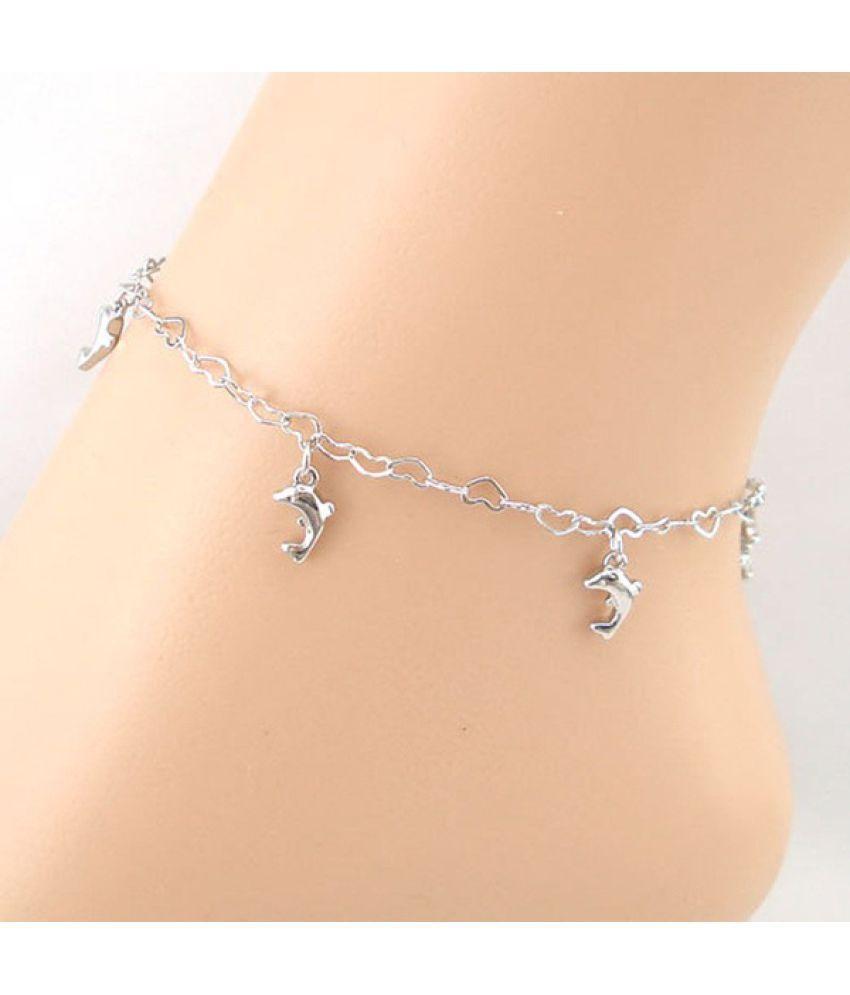 Silver Heart-shaped Chain Dolphins Women Anklet Bracelet Sandal Beach Foot Jewelry