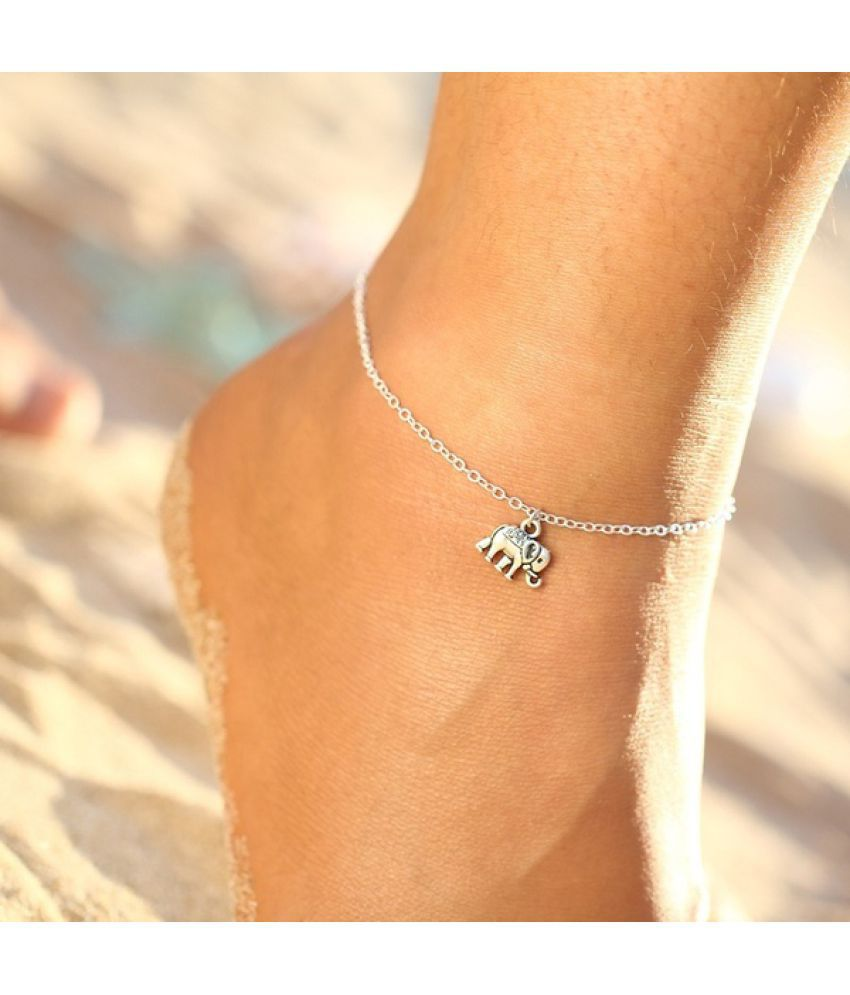 Summer Fashion Beach Holiday Elephant Anklet Bracelet Goldplated Silver Chain Cute Unique Leisure Pretty Beautiful Women Anklets Jewelry Gifts