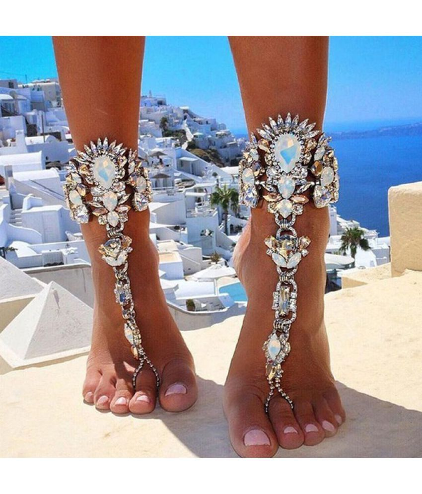 Luxury Crystal Rhinestones Gem Flower Pendant Anklet Chain Ankle Barefoot Sandals Foot Jewelry