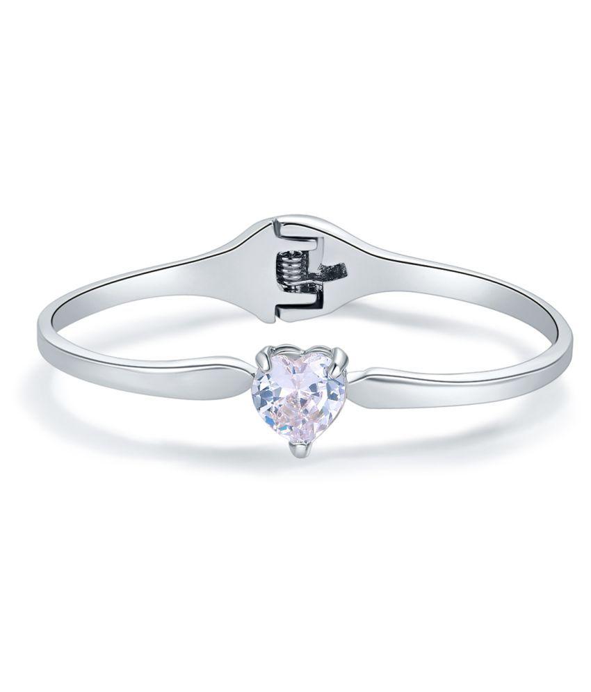 Jewels Galaxy Limited Love Heart Edition Splendid AAA Swiss CZ Rhodium Cham Bracelet For Women/Girls